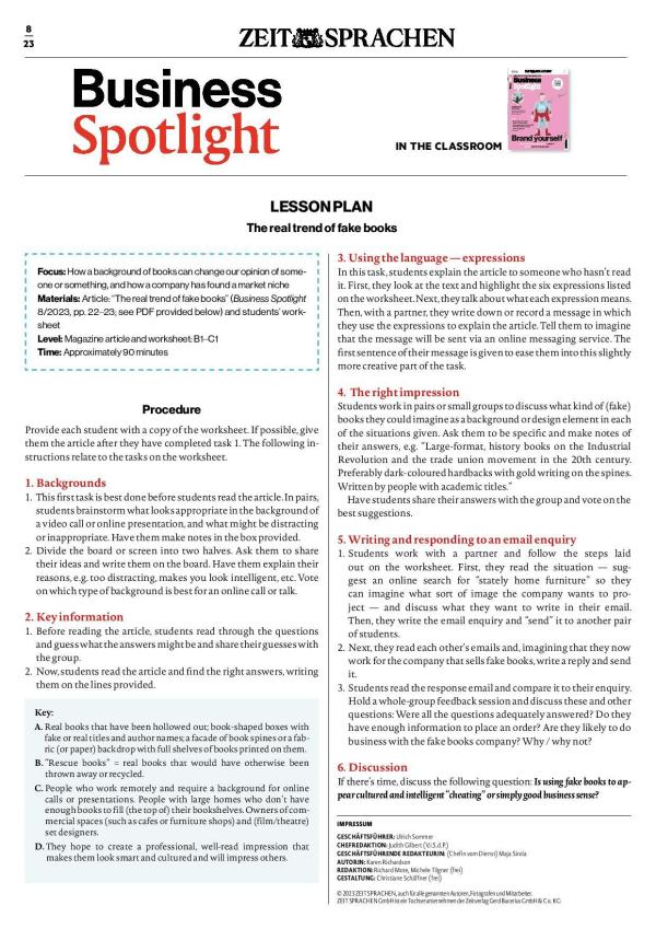 Business Spotlight Lehrerbeilage